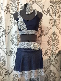 3 pc costume with by RougeDanceCostumes Dance Costumes Lyrical, Lyrical Dance, Dance 4, Stretch Lace, Glass Beads, Two Piece Skirt Set, Trending Outfits, Skirts, Vintage
