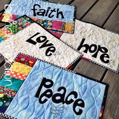 Faith, hope, love, peace quilted placemat set I want these!!