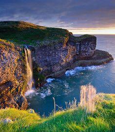 Crawton cliffs and waterfall, Aberdeenshire