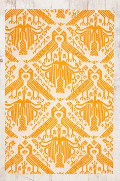 Bird Stamp 3x5 Rug in Yellow - Urban Outfitters