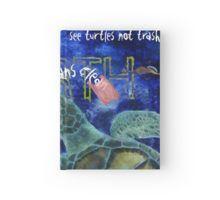 Hardcover Journal with Clean Ocean Sea Turtle art by Nola Lee Kelsey