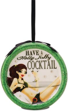 Holly Jolly Cocktail, 120mm Blinking Ornament - Hiccup - Pavilion