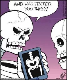 Check out: Funny Memes - Skeleton sexting. One of our funny daily memes selection. We add new funny memes everyday! Bookmark us today and enjoy some slapstick entertainment! Haha Funny, Funny Memes, Hilarious, Funny Stuff, Funny Quotes, Spooktober Memes, Cat Quotes, Fun Funny, Funny Cartoons