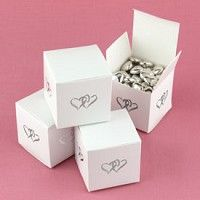 White Linked Heart Favor Boxes
