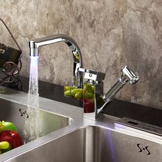 Wash it down! Swivel & pull out kitchen faucet with LED indicator, contemporary design. Made from brass with chrome finish just $43.80 a piece.