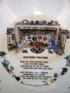 Beautiful Vintage Kitchen Prayer Collector Plate - 18K Gold Trim, Made in Japan for Mid-State Products, Co. by Something2SingAbout on Etsy