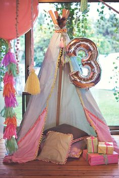 Gorgeous Boho Chic Birthday Party {Pastels & Feathers} (Hostess with the… 3rd Birthday Parties, Birthday Ideas, Pirate Birthday, Festa Party, Camping Parties, Baby Party, Pig Party, Partys, Baby Kind