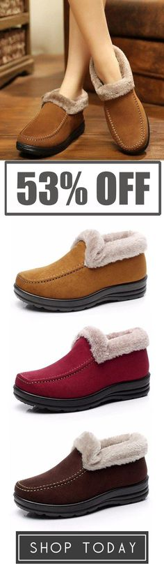 Suede Ankle Soft Warm Footwear Short Boots For Women Slip On Boots 249f5bffb2d21