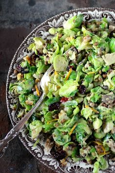 California Shaved Brussels Sprouts Salad with Walnut and Cranberry #FallFest #Thanksgiving