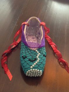 A little mermaid decorated pointe shoe