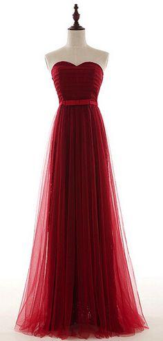 Pretty Tulle Sweetheart Long Burgundy Prom Dress