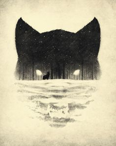 Negative Space wolf landscape trees sketch tattoo
