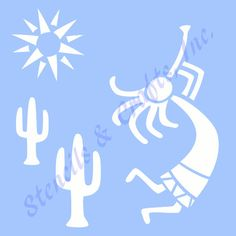 "KOKOPELLI STENCIL WESTERN cactus stencils sun flute southwestern background pattern craft art template templates new 6"" X 5"" free shipping"