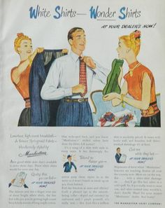 Vintage Men's Fashion ad - Manhattan Shirts, 1940s suit and tie, man dressing, man cave decor wall art or collectible by DustyDiggerLise on Etsy