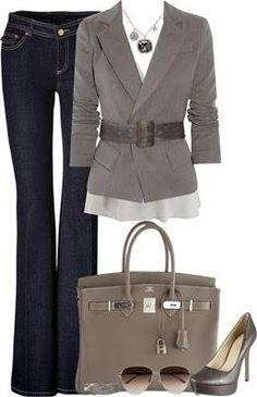 I could actually recreate this. I have a blazer and shoes that are close to that color and of course I have jeans that color! :-) Just need the handbag! find more women fashion on www.misspool.com