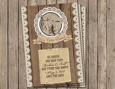Country, Western, Wedding Invitation ,Rustic, Wood and Lace, Digital file, Printable on Etsy, $13.00