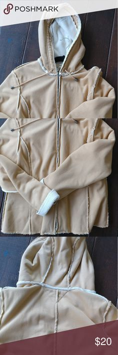 TOMMY HILFIGER SHEARLING JACKET IN BEIGE REALLY GOOD CONDITION  SIZE LARGE, BUT WILL BE BETTER IN A MEDIUM  WHITE SHEARLING LINED  BEIGE FAUX SUEDE   POLYESTER AND COTTON BLEND  ALSO AVAILABLE IN SMALL   Hooded Tommy Hilfiger Jackets & Coats Utility Jackets