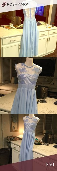 """Gorgeous Baby Blue Formal Perfect for occasions such as prom,Mother of Bride, Pageants. can't miss in this dress 👗 size medium, lovely intricate lace over soft satin bodice. Wide band at waist . Gathered for the flowy accent. Has lining. Measures 17"""" flat at bust, 42"""" waist to floor 54"""" overall. Up to 29"""" waist. Dresses Prom"""