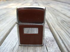 Vintage 1981 / Zippo Lighter Mirrored Chrome Finish w/Brown Hard Plastic Cover