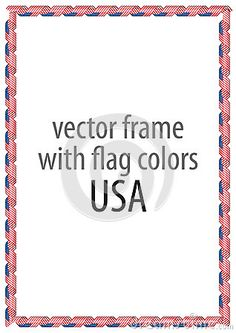 Frame and border of ribbon with the colors of the USA flag.
