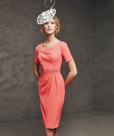 2015 Lacin Sheath Scoop Coral Chiffon Mother Of The Bridal Short Knee Length Short Sleeve Pleated Beaded Formal Mother Dresses Party Dresses Mother Of The Bride Dresses Uk Mother Of The Bride Hairstyles From Angel_online, $85.64| Dhgate.Com