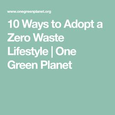 10 Ways to Adopt a Zero Waste Lifestyle | One Green Planet