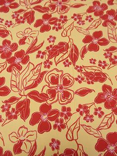 New Arrival! Light Peach/Berry Red Tropical Floral Crinkle Rayon Challis 44W