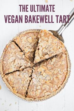 The traditional English dessert consisting of a shortcrust pastry shell, a thin layer of raspberry jam, frangipane filling and a topping of flaked almonds has been made vegan. Have your homemade vegan Bakewell tart ready in no time, with no special skills, equipment or ingredients needed! #vegan #bakewelltart
