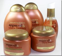 New! Organix Smooth Hydration Collection for Emily's hair.  Aragan Oil and Shea Butter Curl Enhancer