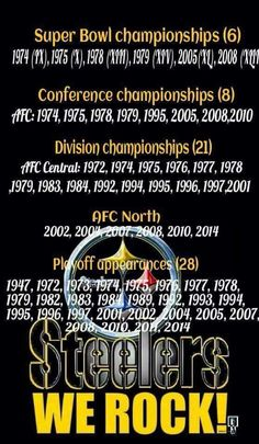 Our resume speaks for itself. And no other team has SIX Lombardi Trophies in their trophy case!! NUFF SAID!!