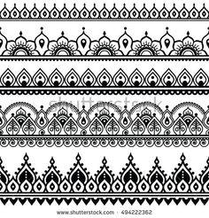 Mehndi, Indian Henna tattoo seamless pattern, design elements - Tattoo designs - Tattoo World Henna Hand Designs, Henna Tattoo Designs, Mehndi Designs, Indian Henna Designs, Henna Tattoo Muster, Tattoo Henna, Muster Tattoos, Henna Mehndi, Hand Henna