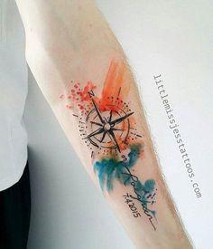 Watercolor compass sleeve tattoo - 100 Awesome Compass Tattoo Designs , click f. Easy Half Sleeve Tattoos, Full Sleeve Tattoos, Sleeve Tattoos For Women, Tattoos For Guys, Hawaiianisches Tattoo, Tattoo Video, Mandala Tattoo, Tattoo Clock, Bild Tattoos