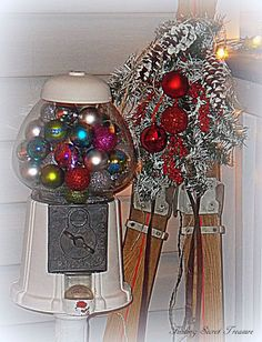 christmas porch, curb appeal, porches, seasonal holiday decor, Close up of my Gumball Machine with Christmas Bulbs