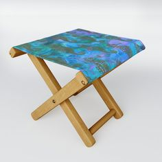 Monet Water Lilies 1899 Blue Teal Folding Stool by Purevintagelove - One Size Poppy Decor, Monet Water Lilies, Blue Poppy, Paint Splash, Folding Stool, Tropical Pattern, When It Rains, Kick Backs, Blue Gemstones