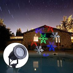 FISHBERG RGB LED Snowflake Lights Waterproof Outdoor Moving Snowflake Display on House LED Outside Wall Light Landscape Projector Lighting Garden Yard Spotlights LED RGB -- Continue to the product at the image link.
