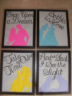 I just printed silhouettes out on colored paper, cut them out, and wrote the quotes from the movies! Slap 'em in frames from the dollar store and boom! Some cheap wall decor for the dorm room :)
