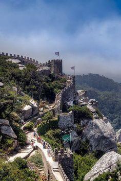 Castle of the Moors, Sintra, Portugal #castle #castles