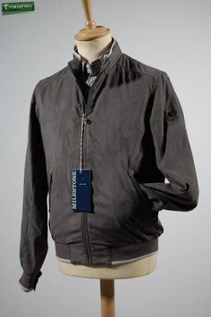 Eco leather jacket grey and blue.