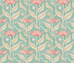 Antique Poppy in Mint and Coral fabric by sparrowsong on Spoonflower - custom fabric and wallpaper