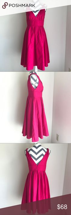 J. Crew Hot Pink Summer Dress Beautiful dress!! Worn once. It has a plunging back and twisted straps (they twist on the back but I prefer to do it right in the middle to make it stand out . True to size J. Crew Dresses Midi