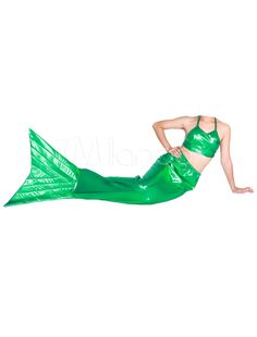573297: Halloween Green Shiny Metallic Tail Mermaid Animal Zentai #USAOnlineShopping #USAShopping