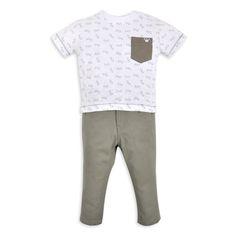 Franela EPK para bebe niño color blanco, con estampado de lentecitos y bolsillo en color verde oliva.