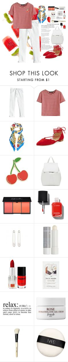 """""""im in love with stripes!"""" by mugeozkan ❤ liked on Polyvore featuring Rebecca Taylor, WithChic, Dolce&Gabbana, Stuart Weitzman, Georgia Perry, Mansur Gavriel, Chanel, Urban Decay, Kristin Cavallari and Korres"""