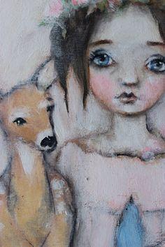 original girl child deer bird floral portrait by fadedwest on Etsy, enchanted forest....