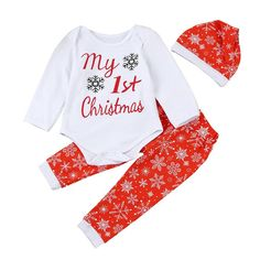 71150bea5d5 My first Christmas Newborn Infant Baby Boy Girl Letter Romper Tops Pants  Hat Christmas Outfits Baby