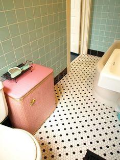 Vintage bathroom makeover from Retro Renovation. Pinned by Secret Design Studio, Melbourne. Black Tile Bathrooms, Vintage Bathrooms, Small Bathroom, Bathroom Sinks, Bathroom Ideas, Bathroom Renovations, Bathrooms Decor, Stone Bathroom, Bathroom Makeovers