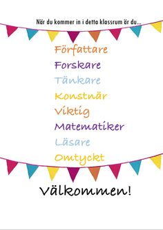 Welcome sign to the classroom door. Welcome sign to the classroom door. Classroom Door, Future Classroom, Classroom Organization, Learn Swedish, Swedish Language, Teachers Aide, Future Jobs, Classroom Inspiration, Writing Paper