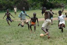 run barefoot and catch chickens and they learn to play soccer barefoot