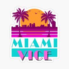 'Miami vice - design' Photographic Print by KelsoBob 80s Design, Design Logo, Miami Vice Theme, Miami Beach Party, Auto Logo, Beach Logo, Vintage Florida, Retro Logos, Dibujo