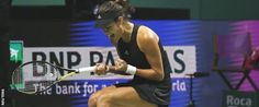 Ana Ivanovic celebrates a point against Eugenie Bouchard in the second round robin match #WTAFinals #tennis #ajde